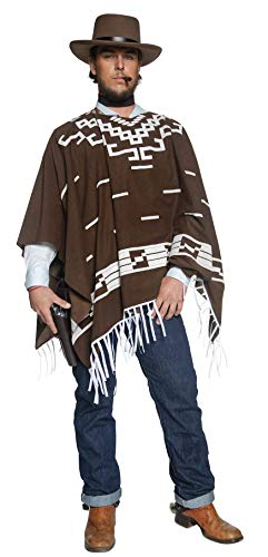 M&m Poncho Costume (Smiffys Men Deluxe Authentic Western Wandering Gunman Costume, Brown, M - US Size)