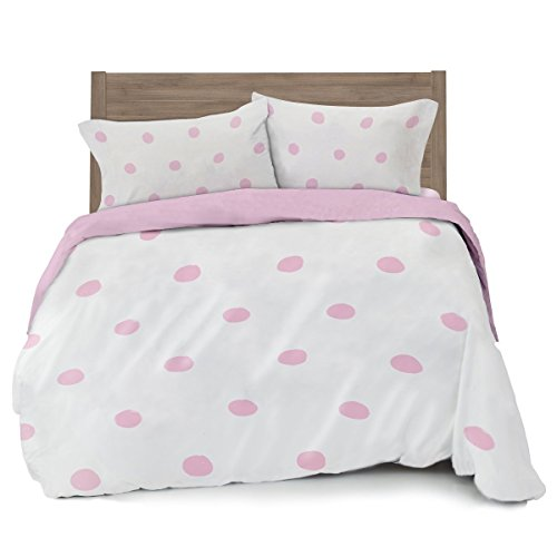 Where The Polka Dots Roam Full/Queen Pink Polka Dot Duvet Cover Set 2 Pillowcases Kid Bedding (L 90in x W 92in) … (Bedding Dot Pink)