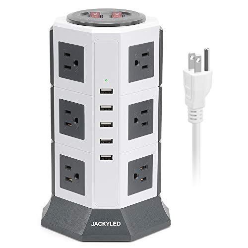 Surge Protector Power Strip Tower JACKYLED 12 AC Outlets 3000W 15A and 5 USB Slots 8A Desktop Smart Universal Charging Station Multiple Protection Heavy Duty 6.5ft 14 AWG Cord White and Gray