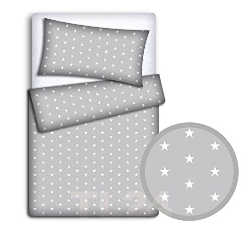 BABY 5PC BEDDING SET PILLOW DUVET BUMPER FIT COT 120x60cm Small Stars With Grey