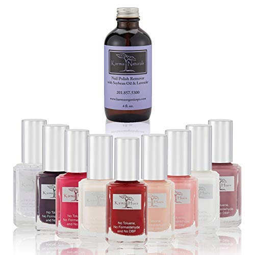 Nail Polish Karma's Splash - Natural Nail Polish Base Coat Set - Lavender Nail Polish Remover - NonToxic Nail Art | Vegan and Cruelty-Free Nail Paint (Pack of 10) (La Splash Nail Polish)