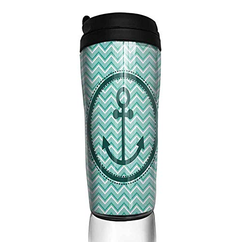 coffee cups with lids 12 oz Anchor,Horizontal Zig Zag Pattern Background Anchor Image Circle Shape Medallion, Dark Green Turquoise 12 oz,glass cup for - Seat Medallion Anchor