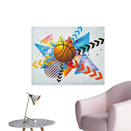 (Anzhutwelve Teen Room Wallpaper Basketball in Front of Zigzag Circular Geometric Minimalist Forms Graphic Print Wall Poster Multicolor W48 xL32)
