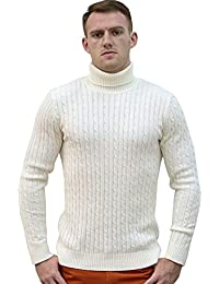 Allegra K Men Turtleneck Long Sleeves Pullover Cable Knitted Sweater