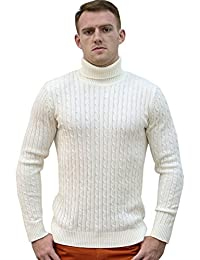 uxcell Men Turtleneck Long Sleeves Pullover Cable Knitted Sweater
