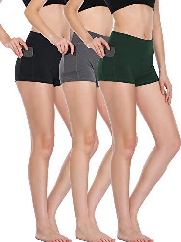 Cadmus Women's High Waist Workout Running Shorts with Pocket,3 Pack,09,Black,Grey,Dark Green,Large]()