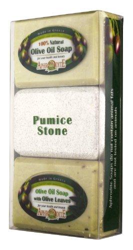 Aphrodite Olive Oil Soap & Pumice Stone Gift Set - All Natural & Vegan