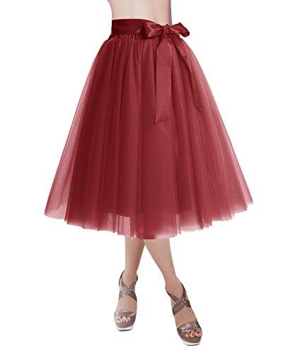 Varies Couleurs Dtachable 4 Ceinture Tulle Dresstells Rouge Jupon en Jupe Fonc Couches qxnF8zw