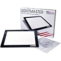 US ART SUPPLY Lightmaster USB Powered 18.75 Diagonal Professional Artist Size (A4) 9x12 LED Lightbox Board - 5-Volt Light Bright Ultra-Thin 3/8 Profile L.E.D. Light Box Pad with 110V AC Power Adapter, USB Adapter to Power From any USB Port, Computer or Wall Plug. Now Includes for FREE: 1 Measuring Overlay Grid & 1 Circle Template/Protractor 1-Year Warranty