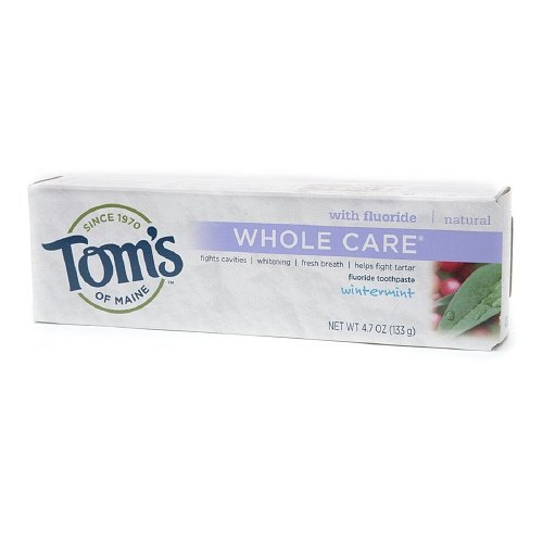 Tom's of Maine Whole Care with Fluoride Natural Toothpaste, Wintermint 4.7 oz (Pack of 4)