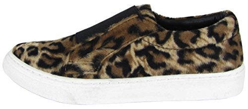 on Sneaker Leopard Soda Fashion Stretch Toe Women's Round Closed Tan Slip Flatform wzOYAw