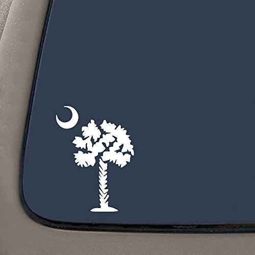 Palmetto Tree South Carolina Decal | Premium Quality White Vinyl Decal | 5.5-Inches Tall | Car Truck Laptop Window Wall SUV Van Decal | (South Carolina Palmetto Decal)