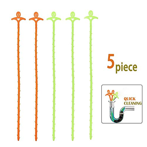 5 Pack 20 Inch Drain Snake Hair Drain Clog Remover Cleaning Tool