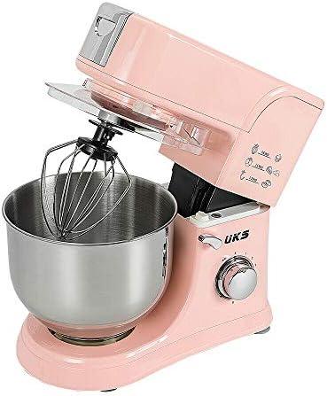 Robot de cocina eléctrico, 1000 W, con cuenco de acero inoxidable de 5,5 L, protección contra salpicaduras y 3 palas mezcladoras: Amazon.es: Hogar