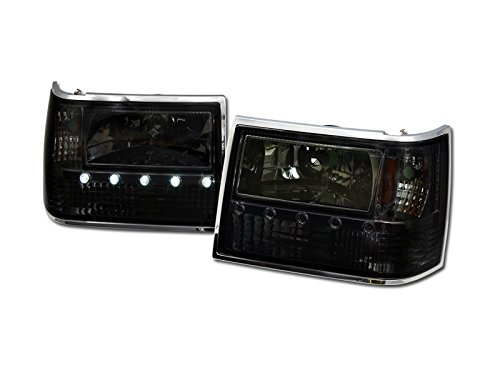 Brightt (I3-LEI-916) 1993-1998 Jeep Grand Cherokee 1 Piece Crystal Headlights W/Led W/Amber -Smoke 1 Piece Crystal Headlights