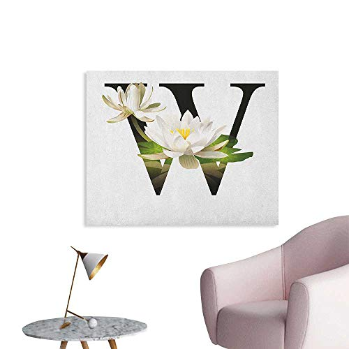 Wall Water Lily Flower Arrangement Nature Inspired Alphabet Design Floral Print Funny Poster White Green Black W36 xL32 ()