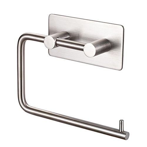 Euro Style Toilet Roll Holder (Kabter Toilet Paper Holder Wall Mount 3M Self Adhesive, Brushed Nickel)