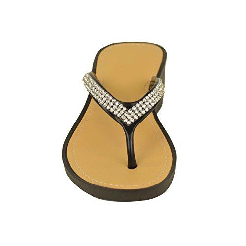 Doigt Bas Tongs Sandales Fashion Talon Entre Compensé Taille Thirsty Gel Diamant Femmes Noir nvqpqZYf