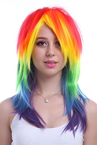 ROLECOS Womens Rainbow Dash Wig Long Straight Fluffy Cosplay Wigs Multicolor by ROLECOS