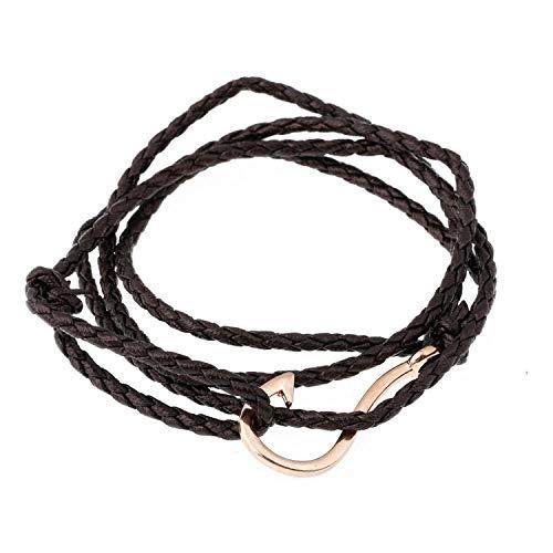 Fashion Spiral Hook Bracelet for Men Gold Hook Multi Braid Leather Nylon Rope Bracelet Bangle,Sl737G ()