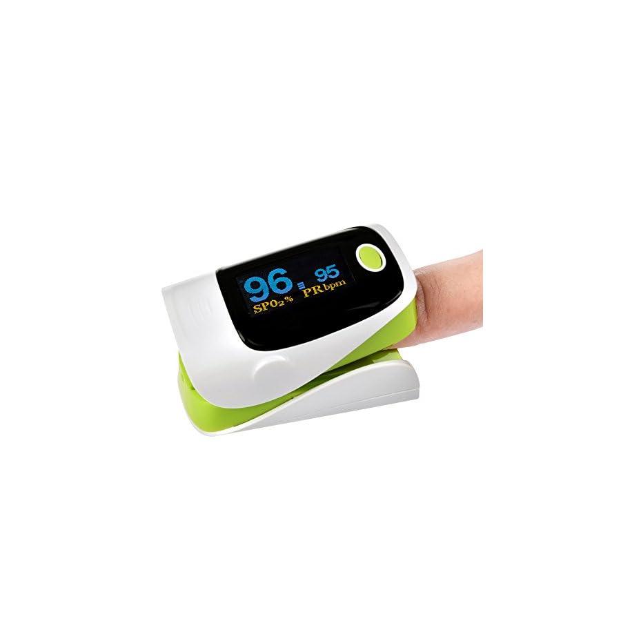 Elera Fingertip Pulse Oximeter Oled Display Sports Instant Read Digital Pulse Oximeter Oxygen Sensor Pulse Rate Monitor With lanyard Green color