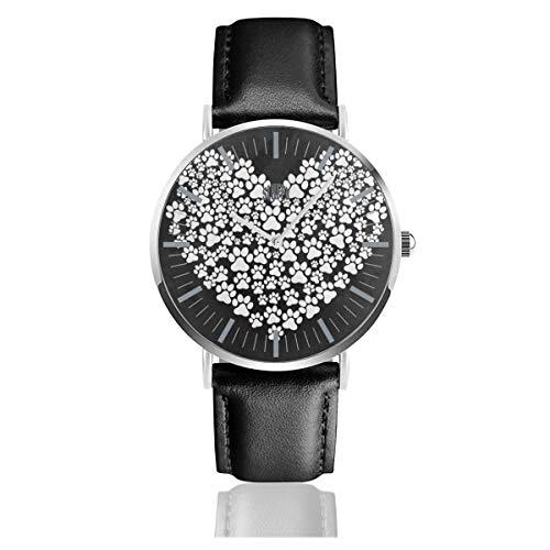 Hipster Dog Paw Print Love Heart Men's Watches Fashion Simple Watches Waterproof Quartz Women Watches