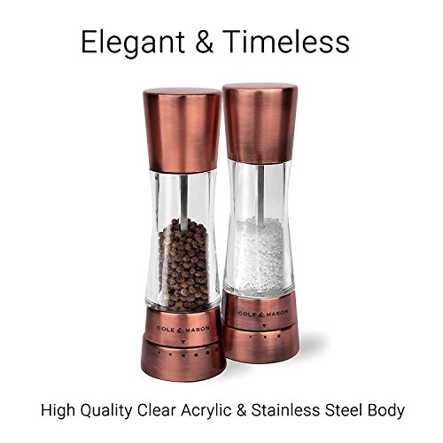 COLE & MASON Derwent Salt and Pepper Grinder Set - Copper Mills Include Gift Box, Gourmet Precision Mechanisms and Premium Sea Salt and Peppercorns by Cole & Mason (Image #1)