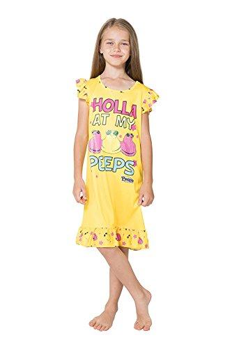 Peeps Big Girls' Holla Ruffle Nightgown, Yellow, - Clothing Holla