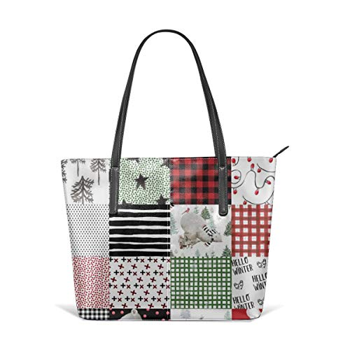 Handbags For Women,8 Winter Sleepy Bear Wholecloth Cheater Quilt Satchel Leather Shoulder Bag,Totes Purses Messenger -