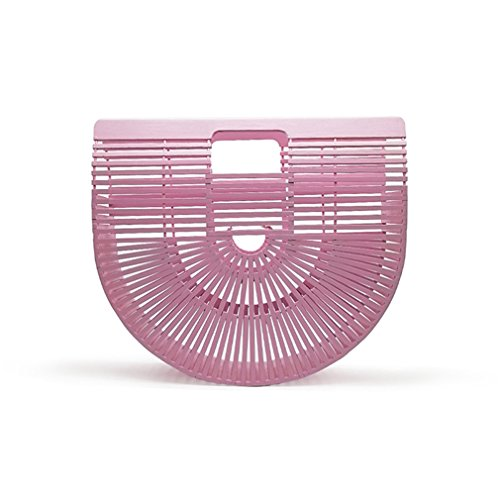 (WIEJDHJ Women Clutch Wooden Purses And Handbags Luxury Designer Hollow Out Summer Beach Bags For Women Casual Bamboo Handbag pink small)