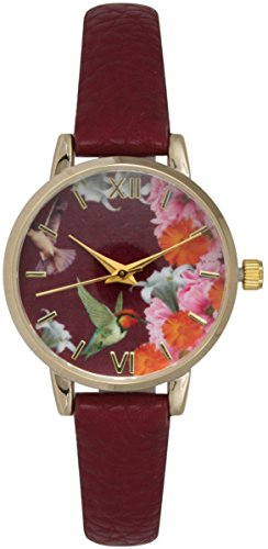 Flower Print Watch - Leather Strap Watch with Bird & Flower Print Small Size Quarter Roman Numerial (Burgundy)