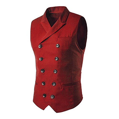 MAGE MALE Men's Suit Vest Designer Solid V-Neck Double Breasted Lapel Slim Fit Business Dress Waistcoat (Large, Red)