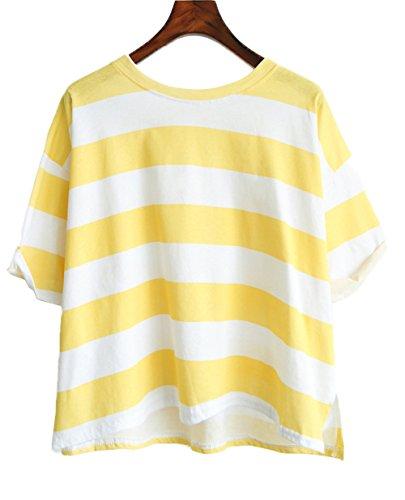 Camicetta Camicie Sciolto Estivi Giallo Top Donna Corta Manica Shirt Moda Newlife Rotondo Shirts Collo Casual T Maglietta Unita Blouse Tinta Uqdw7RR8