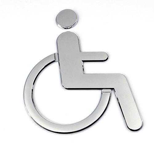 Z-Color 1Pcs Public Toilet Signs WC Wall Stickers Decals Toilet Door Signs  Restroom Washroom Signage Handicap (Silver-Wheelchair)