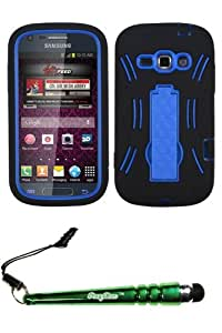 FoxyCase(TM) FREE stylus AND SAMSUNG M840 (Galaxy Prevail 2) Dark Blue Black Symbiosis Stand Protector Cover cas couverture