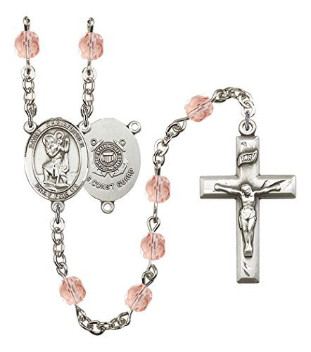 October Birth Month Prayer Bead Rosary with Saint Christopher Coast Guard Centerpiece, 19 Inch (Coast Christopher Guard)
