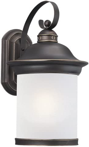 Sea Gull Lighting 89193BLE-71 Hermitage – One Light Outdoor Wall Sconce, Antique Bronze Finish with Frosted Glass