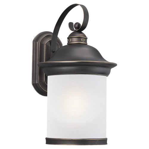 Sea Gull Lighting 89193BLE-71 Hermitage - One Light Outdoor Wall Sconce, Antique Bronze Finish with Frosted Glass