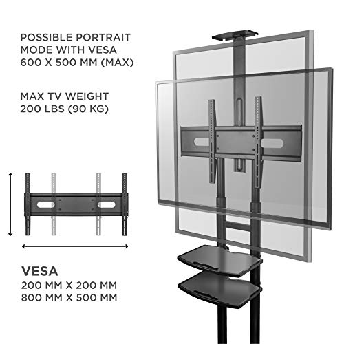 ONKRON Mobile TV Stand with Wheels Rolling TV Cart for 55 to 80 Inch LCD LED Flat Panel TVs (TS1881) by ONKRON (Image #5)