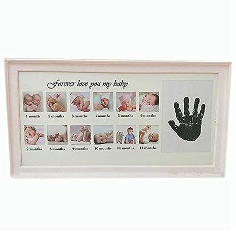 CUHAWUDBA Marco de Fotos Lindo Beb/é DIY Handprint 12 Meses Marco de Fotos Baby Boy Girl Marco de Fotos de Aniversario de un A?o Azul
