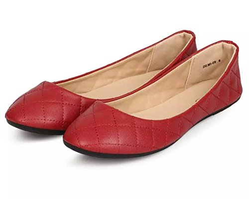 Refresh DEMI-09 Womens Patent Leatherette Ballerina Ballet Slip On Flats Red Color Size 7.5