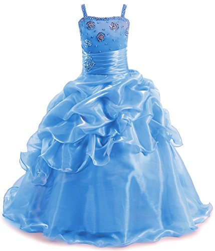 Children Formal Graduation Ball Prom Gowns Appliques Beads Shiny Girls Pageant Dresses Blue,9