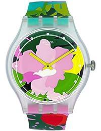 Originals Tropical Garden Pink Dial Silicone Strap Ladies Watch SUOK132