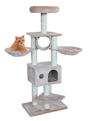 cat condo tree with cat hammocks tunnel and bed beige amazon     cat condo tree with cat hammocks tunnel and bed      rh   amazon