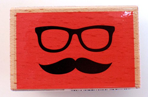 Eye Glass and Mustache Studio G Wooden Rubber Stamp