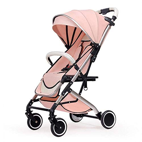 MXYBD Baby Cart 2 in 1 Pram with Car Seat High Landscape for Newborns Travel System Foldable Baby Carriage Trolley Walk (Color : Pink)