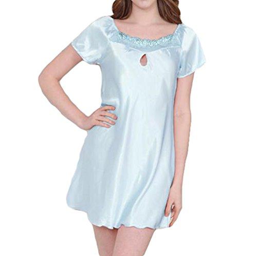 hollow Hibote ginocchio Blue seta Sleepwear sintetica Donna Ladies Sleepshirts in Light Moda Camicia al Ragazza Dolce Stampata Summer notte da HHrfqw