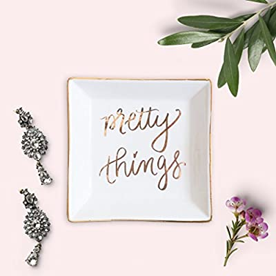 Pretty Things Jewelry Dish | Ceramic Ring Tray Trinket Dish Inspirational Gift for Her Gold Office Decor Hand Lettered Home Decor Accents