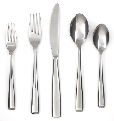 Cambridge Silversmiths Rachel Mirror 20-Piece Flatware Silverware Set, Stainless Steel, Service for 4, Includes Forks/Spoons/Knives