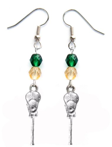 ''Lacrosse Stick & Ball'' Lacrosse Earrings (Team Colors Forest Green & Gold) by Edge Sports